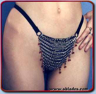 Amira chain mail g-string shown w/ruby red beads