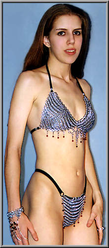 Amira chainmail bikini top shown w/Amira handflower and Amira G-string