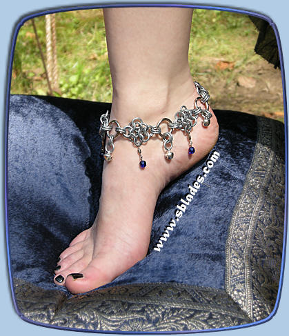 Amira dancer anklet shown w/bells & cobalt blue