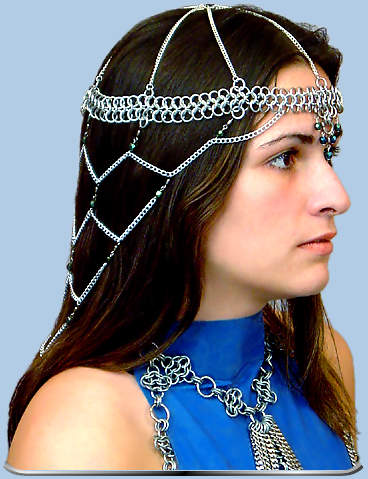 Mid-length Amira headdress shown w/iridescent green beads