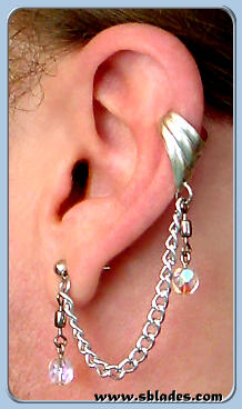 Single-pierced style shown w/cuff & clear aurora borealis beads