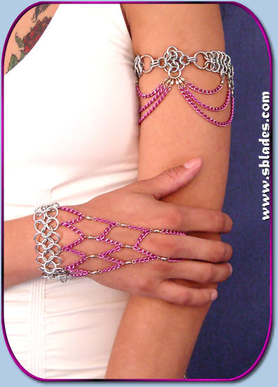 Colorful chain armband steel shown in purple chain & nickel beads, Shown w/a Coloful Slave Bracelet