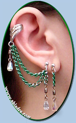 Single-pierced style shown w/cuff, green chain & clear AB teardrops
