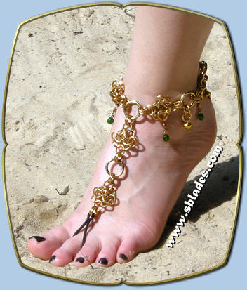 Crystabel slave anklet shown in gold-tone w/emerald green beads