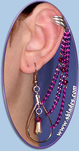 Comet earring shown w/cuff, Purple Austrian crystals & chains