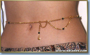 Crystal belly chain shown in gold-tone chain w/black Austrian crystal