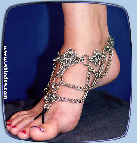 Crystabel chainmail slave anklet Chain mail belly dance foot flower ankle jewelry Chainmaille barefoot sandal jewelry