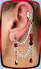 Ice-Flame Bajoran earring shown in Dark-Fire w/single-pierced lobe and cuff