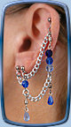 Ice-Flame Bajoran earring shown in Blue-Ice w/double-pierced lobe and upper-stud
