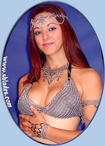 Chainmail bikini top shown w/Crystal coronet, Shadowpoint body chains, & Colorful handpiece
