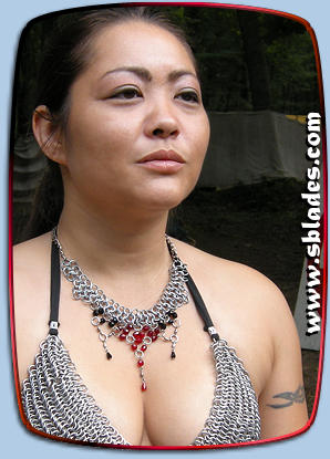 Ice-Flame dancer necklace in dark-fire & Chainmail bikini top