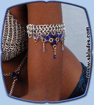 Ice-Flame dancer arm band in blue-ice