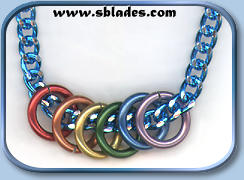 Mini-rings pride necklace w/blue chain